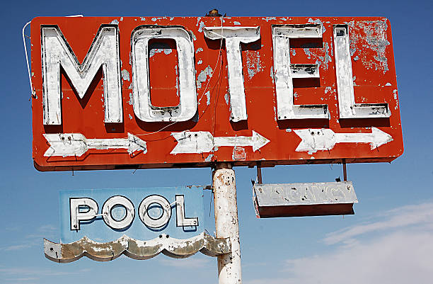 Motel with pool stock photo