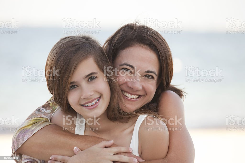 Mother & Daughter on the Beach royalty-free stock photo