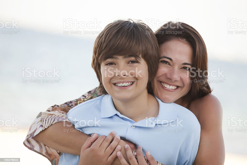 Mother & Son on the Beach stock photo