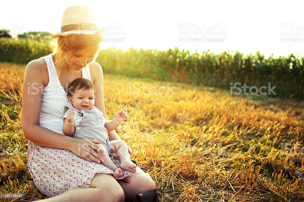 Mother and a baby royalty-free stock photo