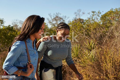 904170246 istock photo Mother And Adult Daughter Hiking Outdoors In Countryside 646020018