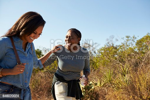 904170246 istock photo Mother And Adult Daughter Hiking Outdoors In Countryside 646020024