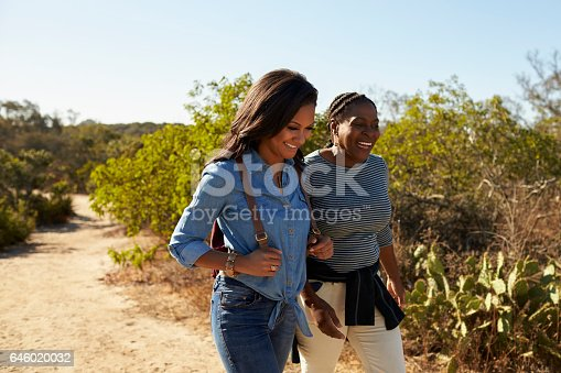 904170246 istock photo Mother And Adult Daughter Hiking Outdoors In Countryside 646020032
