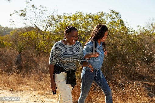 istock Mother And Adult Daughter Hiking Outdoors In Countryside 646020036