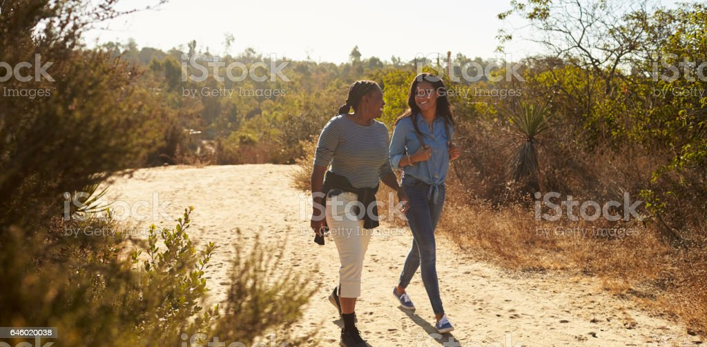 Mother And Adult Daughter Hiking Outdoors In Countryside stock photo