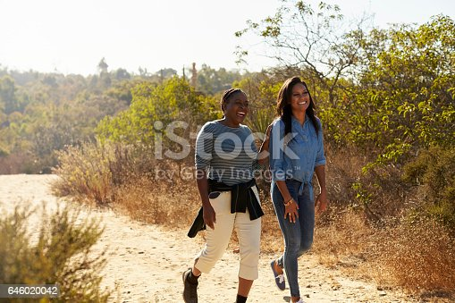 istock Mother And Adult Daughter Hiking Outdoors In Countryside 646020042