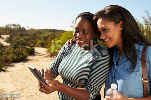 904170246 istock photo Mother And Adult Daughter Navigate With Mobile Phone On Walk 646019994