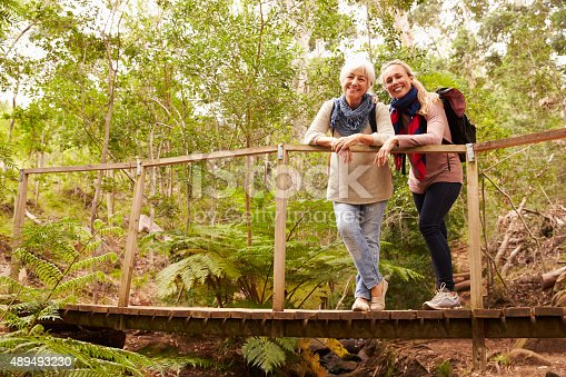 istock Mother and adult daughter on a bridge in a forest 489493230