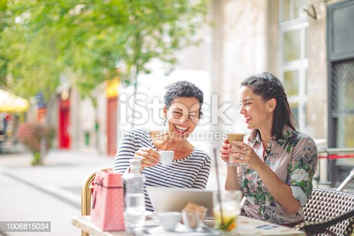Mother and adult daughter spending time together