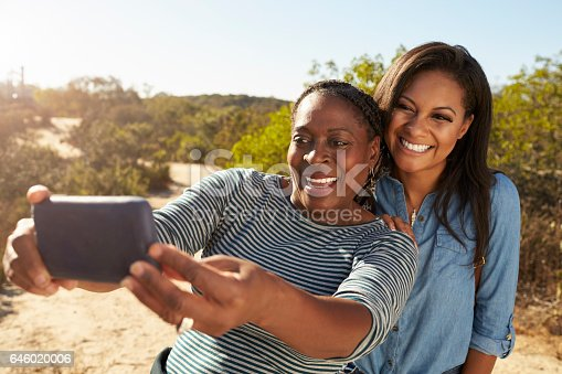 904170246 istock photo Mother And Adult Daughter Taking Selfie With Phone On Walk 646020006