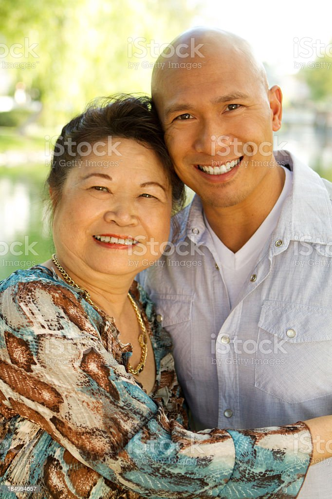 Mother and Adult Son royalty-free stock photo