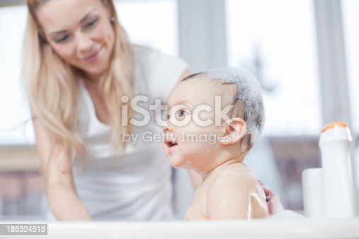 istock Mother and baby bath 185324515