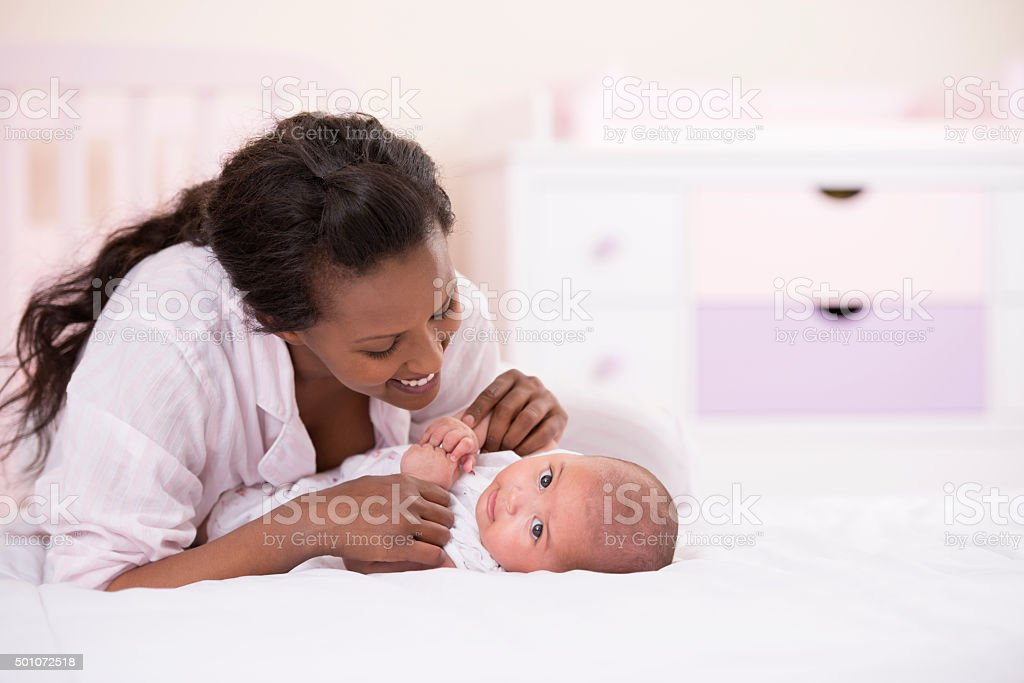 Mother and baby bonding. stock photo