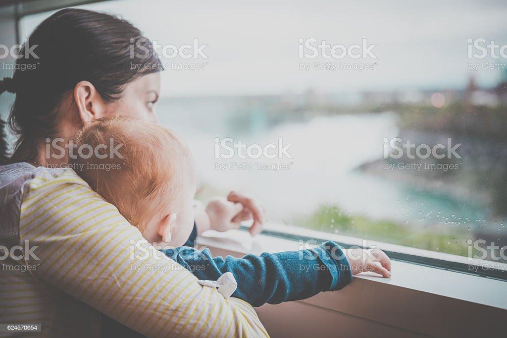 Mother and Baby Boy at Niagara Falls stock photo