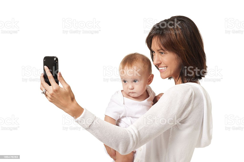 Mother and Baby Child Selfie Isolated on White Background royalty-free stock photo