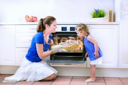 istock Mother and baby daughter baking a pie 489430127