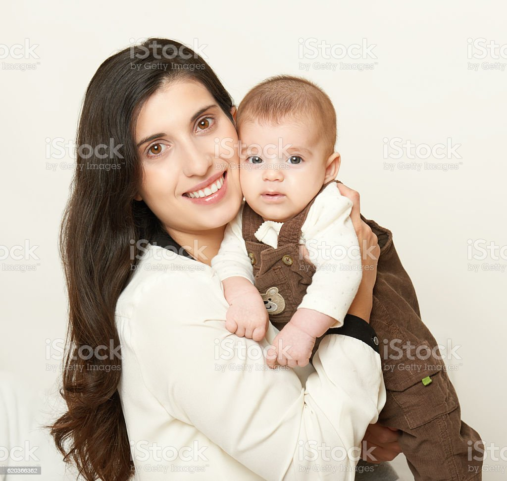 Mother and baby, happy family portrait on white background foto de stock royalty-free