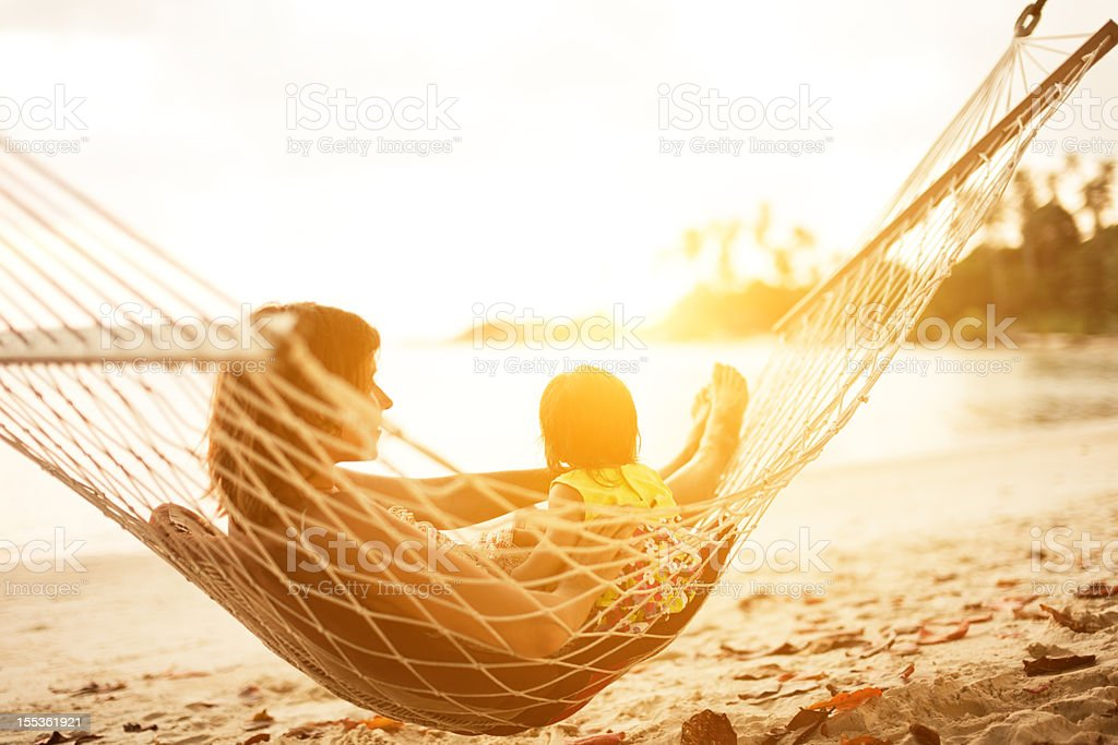 mother and baby in hammock royalty-free stock photo