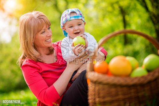istock Mother and baby on a picnic 520587628