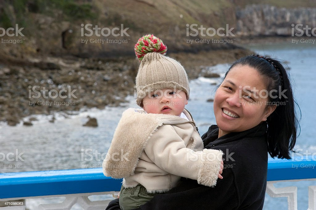 Mother and baby on vacation royalty-free stock photo
