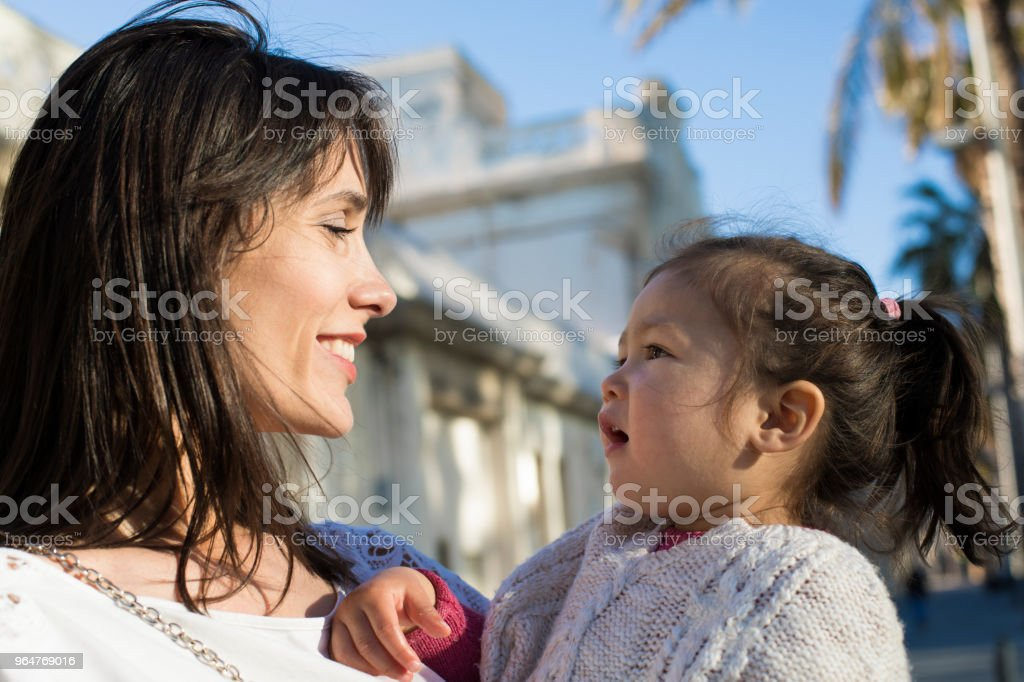 Mother and baby outdoors. royalty-free stock photo