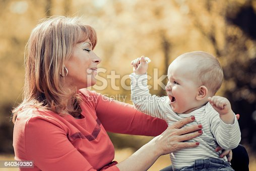 istock Mother and baby relaxing in the park 640349380