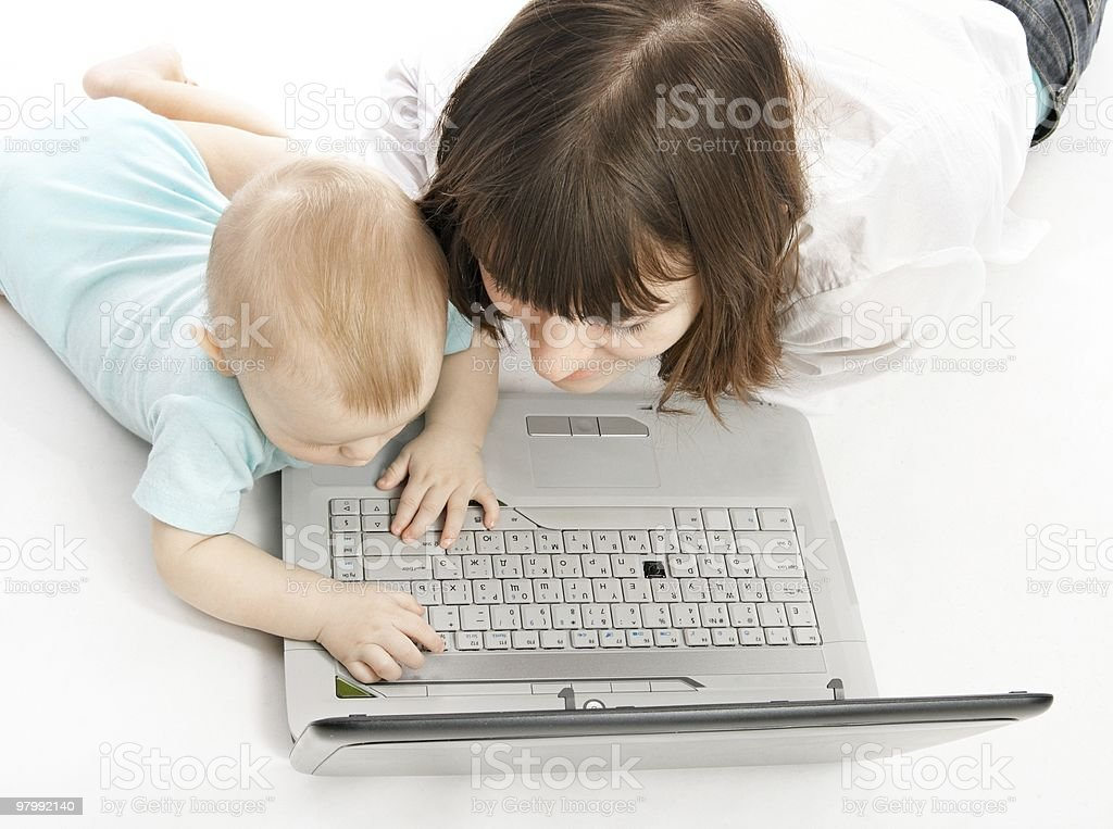 mother and baby with laptop royalty-free stock photo