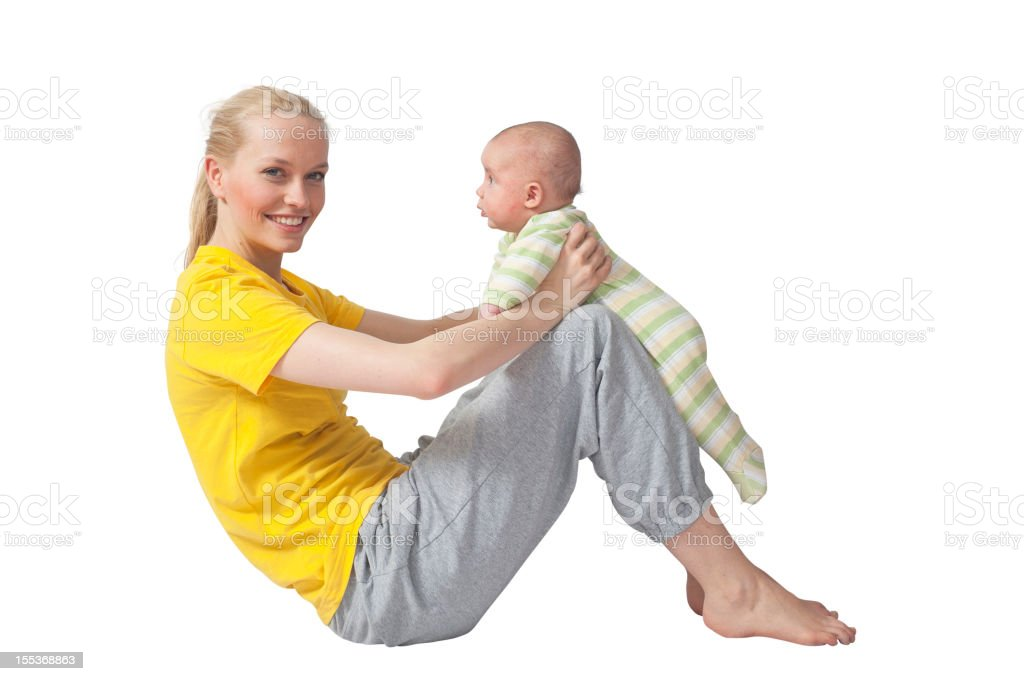 Mother and Baby yoga at training stock photo