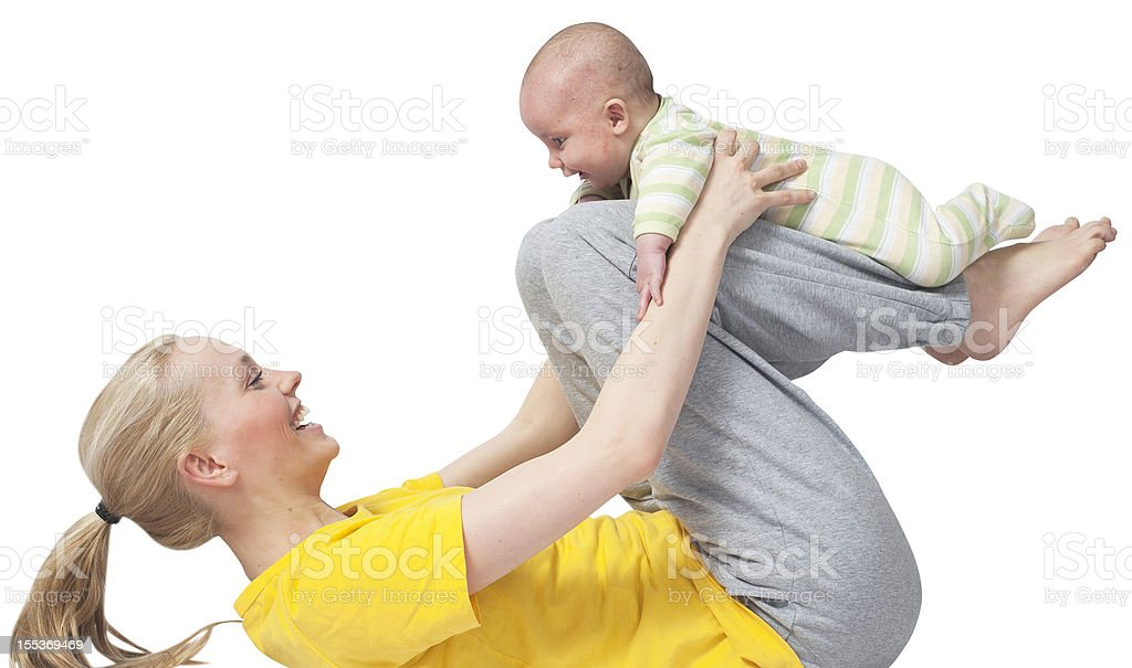 Mother and Baby yoga at yogatraining stock photo
