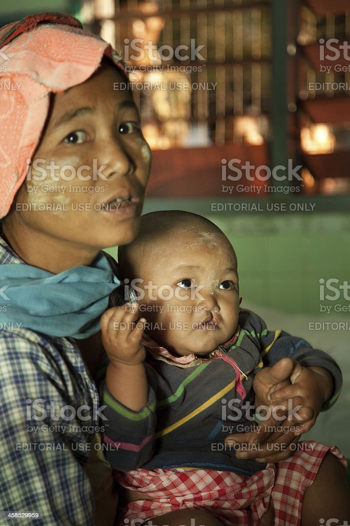 Mother and child at the doctor stock photo