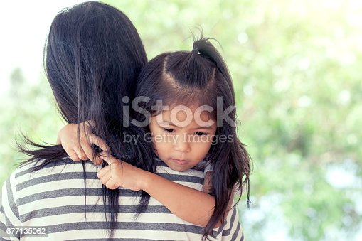 istock Mother and child cute little girl resting on her mother's shoulder 677135062
