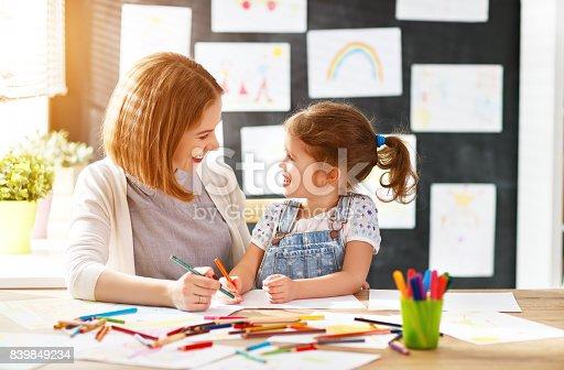 istock mother and child daughter draws in creativity in kindergarten 839849234