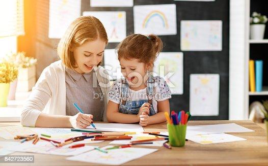 istock mother and child daughter draws in creativity in kindergarten 842723560