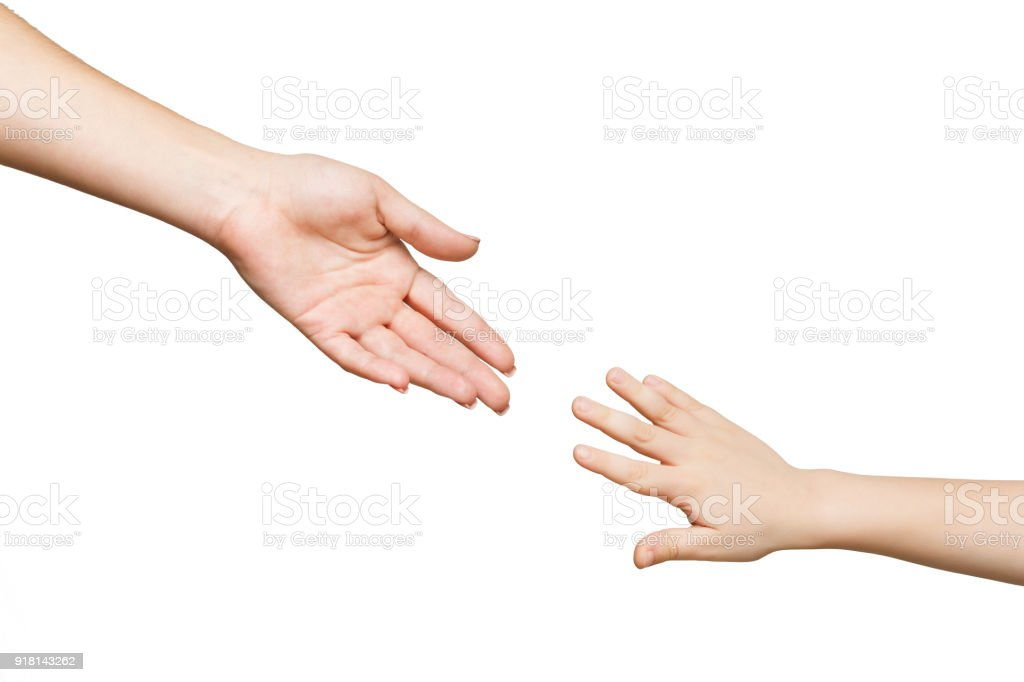 Mother and child hands isolated stock photo