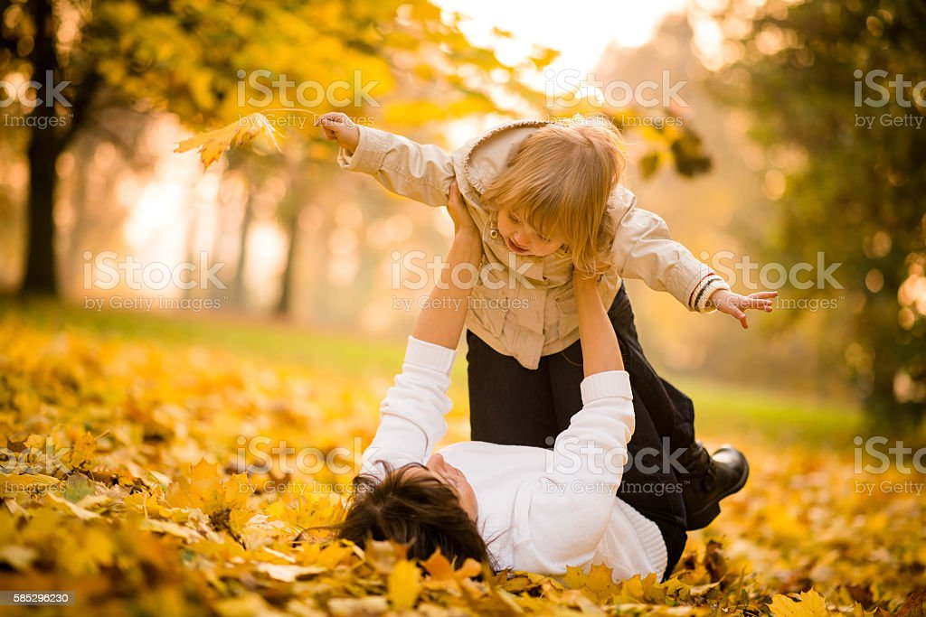 Mother and child having fun stock photo