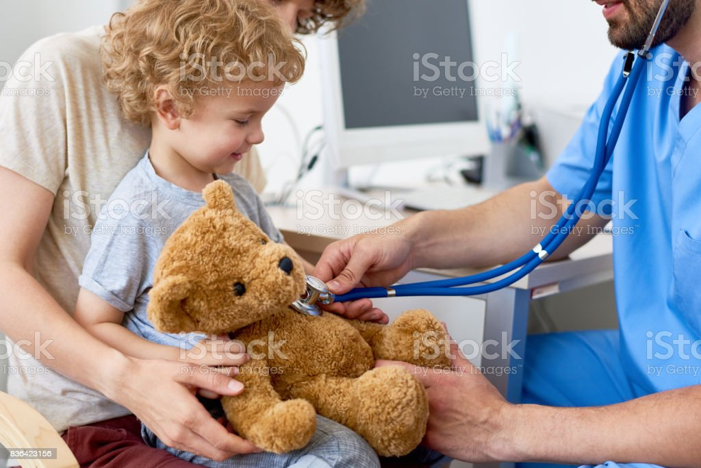 Mother and Child in Pediatric Office stock photo