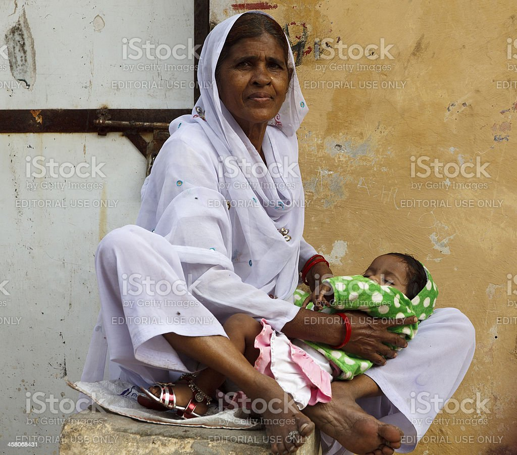 Mother and Child on street India stock photo
