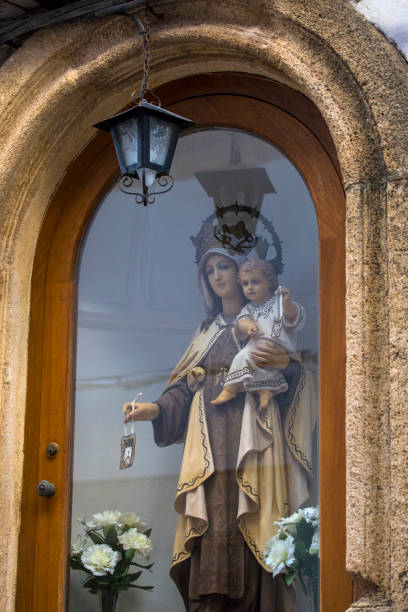 Mother and Child Sculpture in the old town of Javea, Spain stock photo