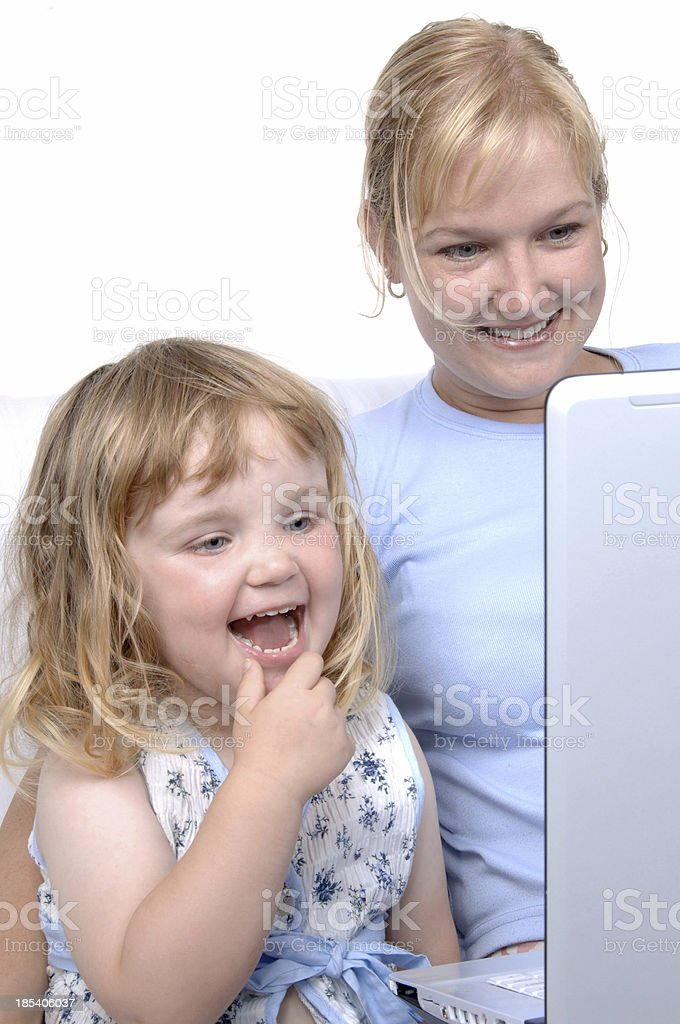 mother and child with laptop royalty-free stock photo