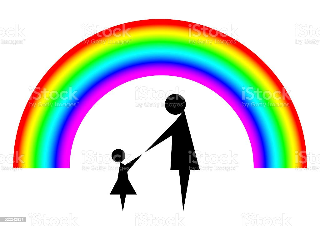 Mother and child with rainbow background stock photo