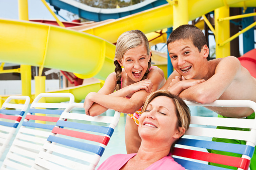 Mother And Children At Water Park Stock Photo - Download Image Now