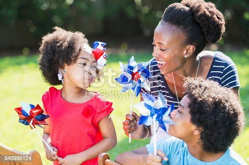 1091098220istockphoto Mother and children celebrating 4th of July 540995124