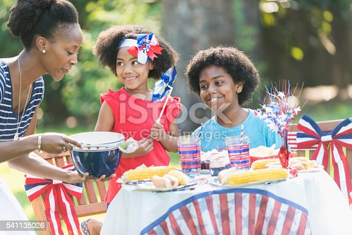 1091098220istockphoto Mother and children celebrating 4th of July 541135026
