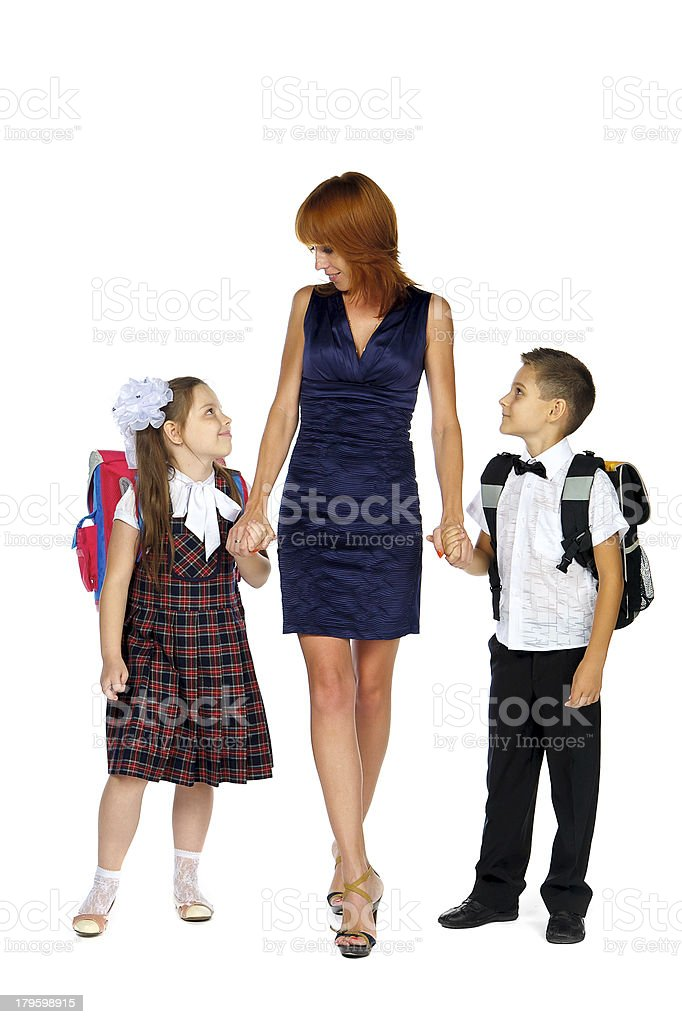 mother and children going royalty-free stock photo