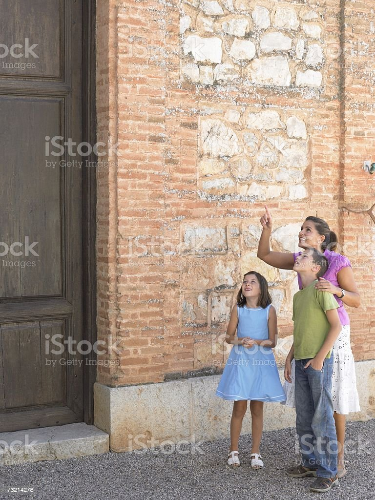 Mother and children sightseeing royalty-free stock photo