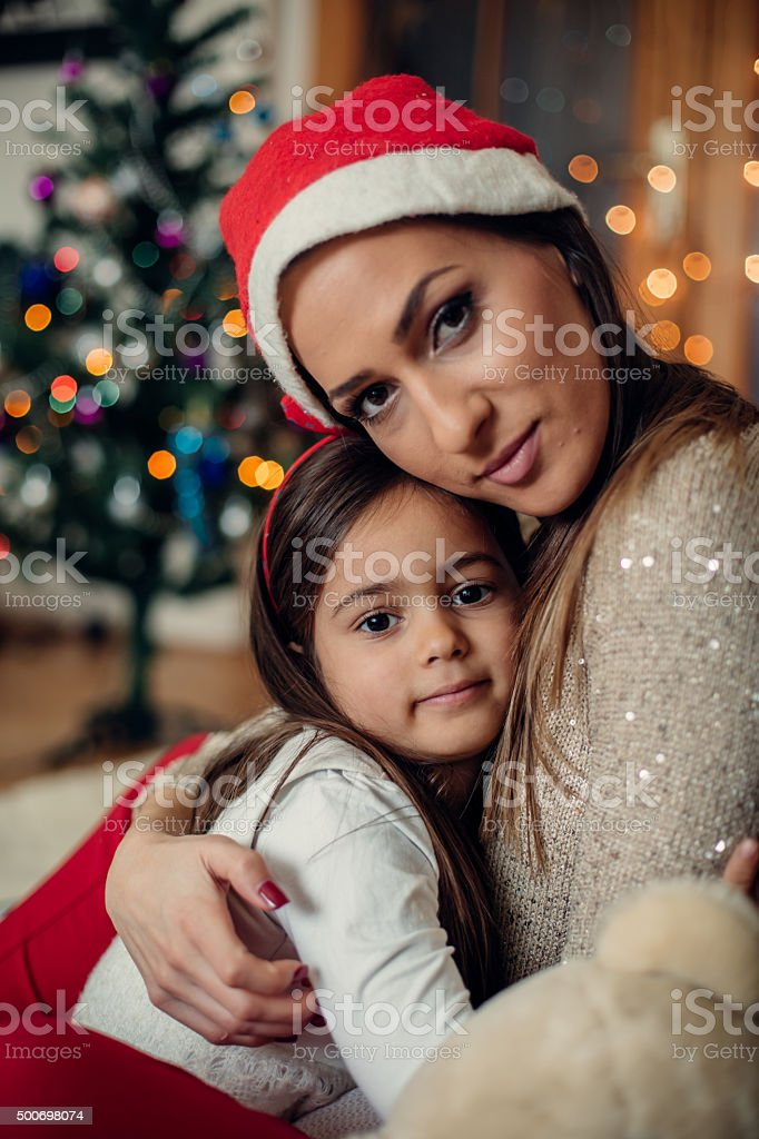 Mother and daughter at Christmas stock photo