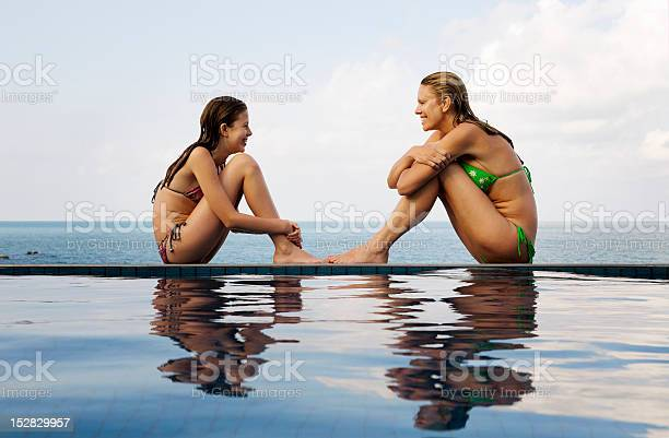Mother And Daughter At Edge Of Pool Stock Photo - Download Image Now