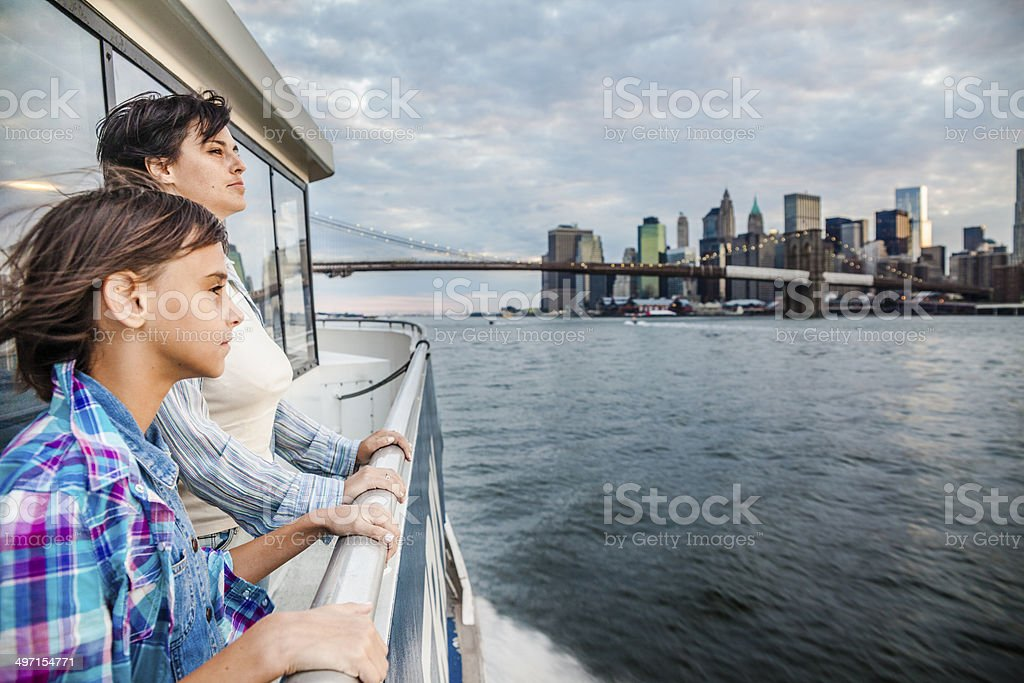 Mother and daughter at ferry at Hudson River royalty-free stock photo