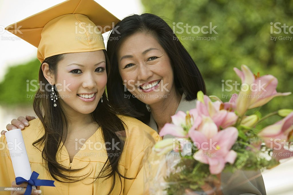 Mother and Daughter at Graduation stock photo