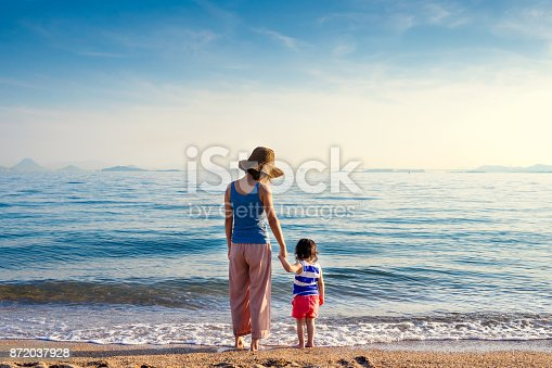 istock Mother and daughter at the beach 872037928